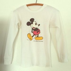VINTAGE mickey  mouse thermal XS white